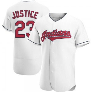 David Justice Cleveland Indians Authentic Home Jersey - White