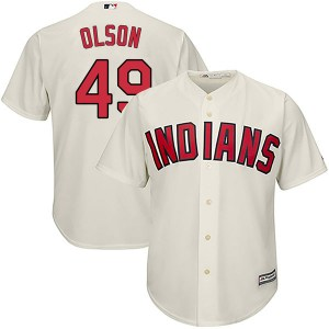 Tyler Olson Cleveland Indians Youth Replica Cool Base Alternate Majestic Jersey - Cream