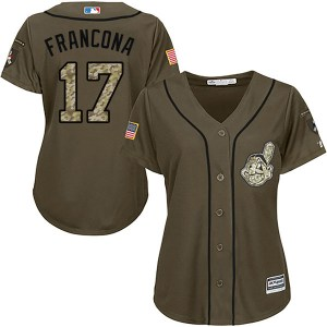 Terry Francona Cleveland Indians Women's Authentic Salute to Service Majestic Jersey - Green
